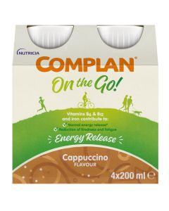 Complan On The Go Energy Release Drink Cappuccino Flavour 4x200ml