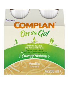 Complan On The Go Energy Release Drink Vanilla Flavour 4x200ml