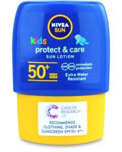 NIVEA SUN Kids Suncream Pocket Size Lotion SPF 50+, Protect & Moisture, 50ml