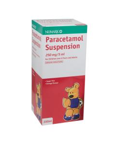 Paracetamol 250mg/5ml Suspension 200ml Sugar Free Strawberry (BRAND MAY VARY)
