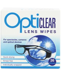 Opticlear Lens Wipes 26-  6 packs - 156 Wipes