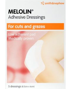 Melolin Adhesive Low-adhesive Absorbent Dressing Pads Consumer/otc Pack 8.3cm X 6cm 5 Consumer/otc Pack