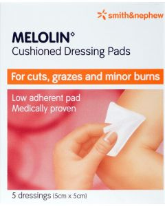 Melolin Low-adherent Absorbent Dressing Consumer/otc Pack 5cm X 5cm 5 Consumer/otc Pack