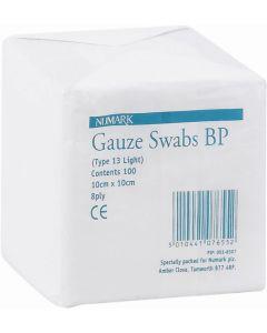 Numark Gauze Swabs 8-ply 10cm X 10cm 100 Gauze Swabs 8-ply